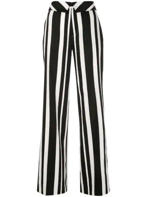 Alice And Olivia Alice+Olivia Striped Wide-Leg Trousers - Black