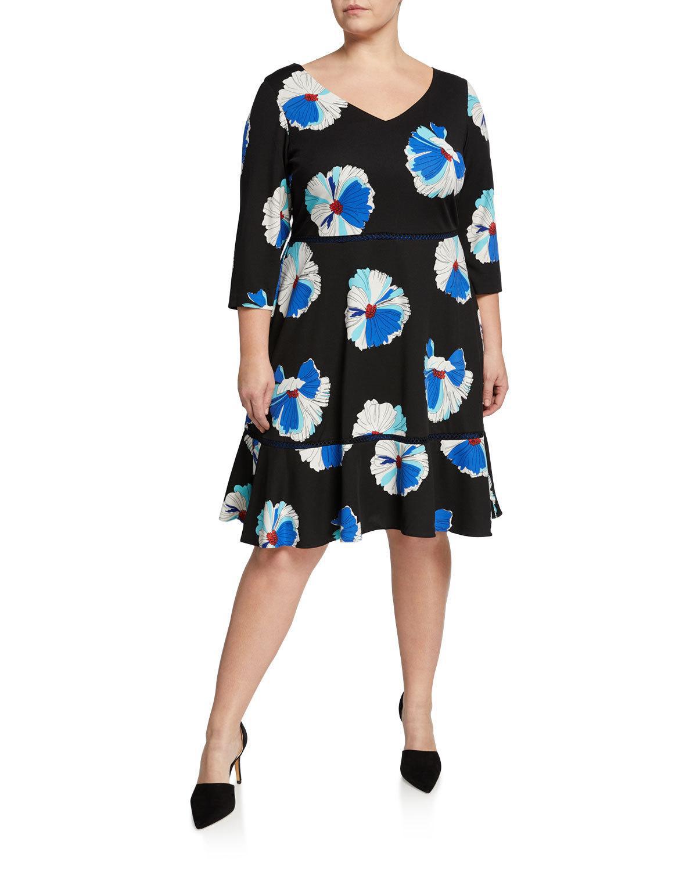 Plus Size Floral Print Flounce A-Line Dress in Black Pattern