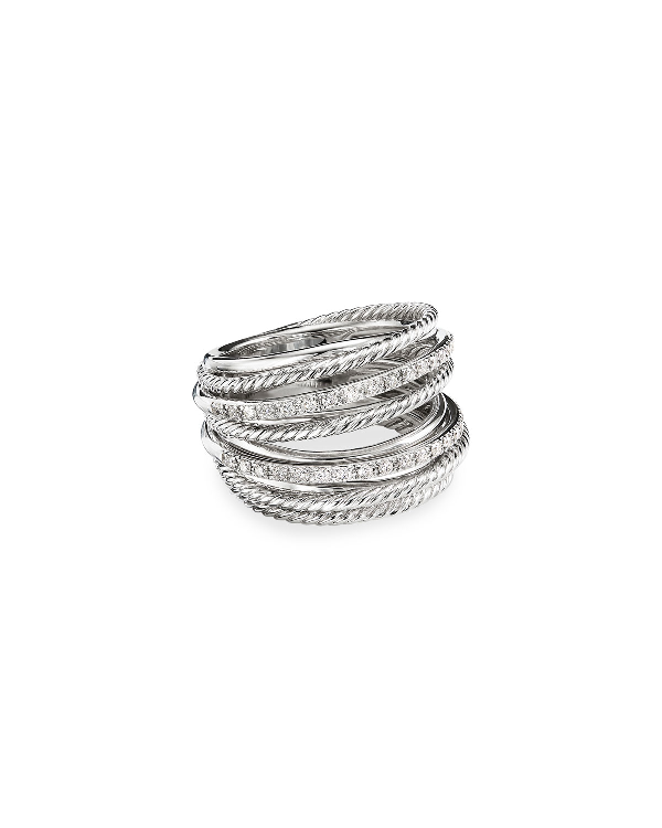 David Yurman Sterling Silver Crossover Wide Ring With Diamonds In White/Silver