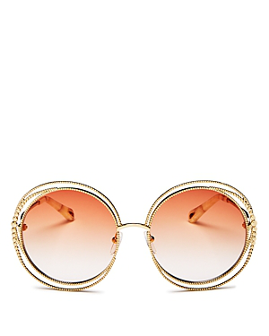 19f44eb0044 Chloé s signature retro-tinted sunglasses offering is refreshed with this  gold-tone metal Carlina style for Resort 2019. They re crafted in Italy  with a ...