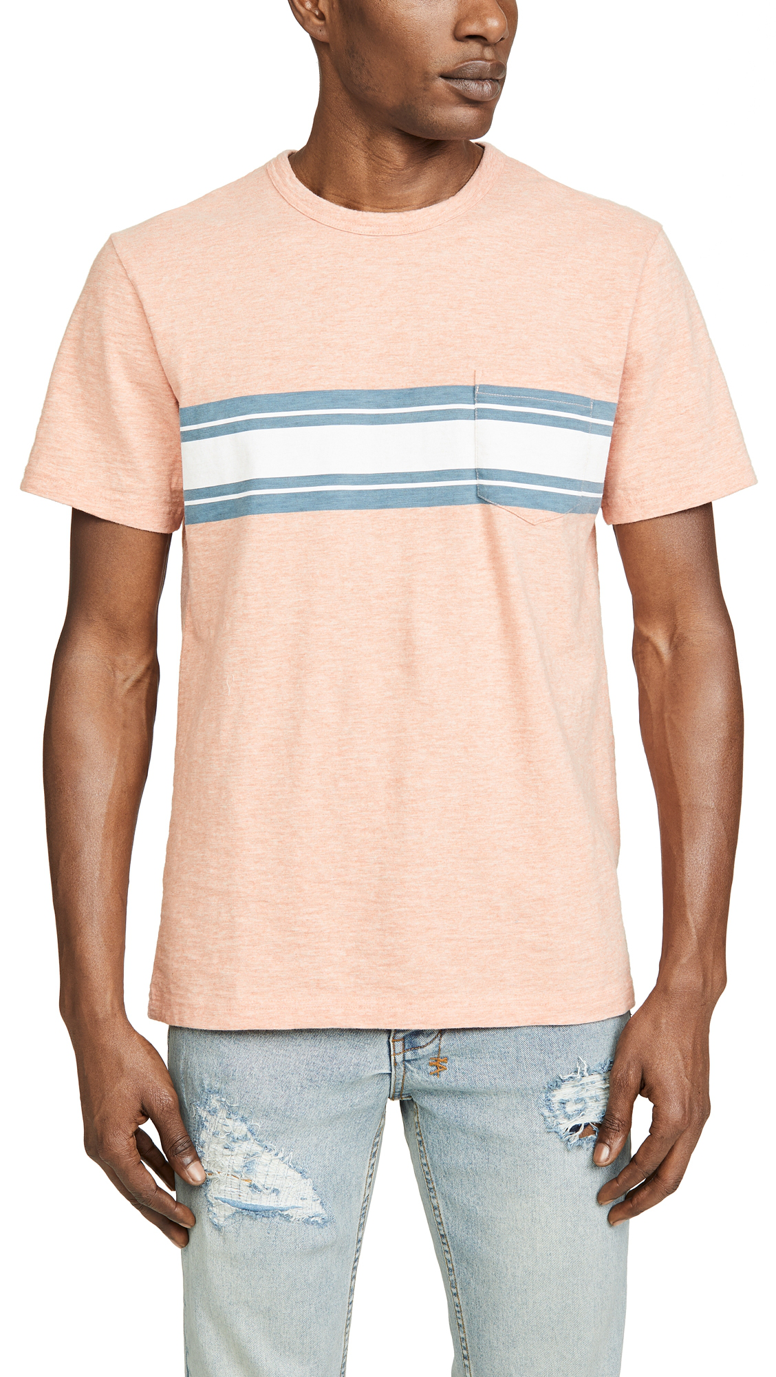 be53e6a962 Faherty Surf Stripe Pocket T-Shirt In Coral Heather | ModeSens