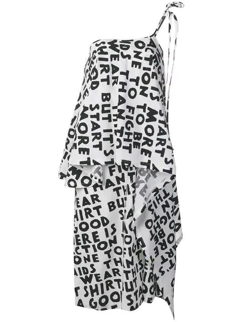 Mm6 Maison Margiela One Shoulder Midi Dress In White