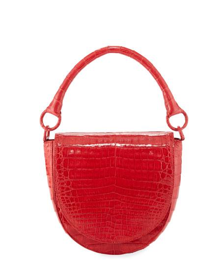 Nancy Gonzalez Small Teddy Crocodile Leather Crossbody Bag - Red In Red Shiny
