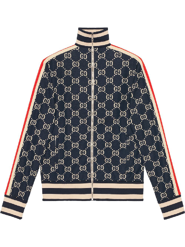 5397d44daec057 Gucci Striped Logo-Intarsia Cotton Track Jacket - Navy In 4245Blured ...