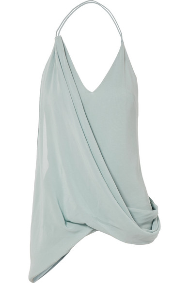 Jacquemus Open-Back Georgette Halterneck Top In Sky Blue