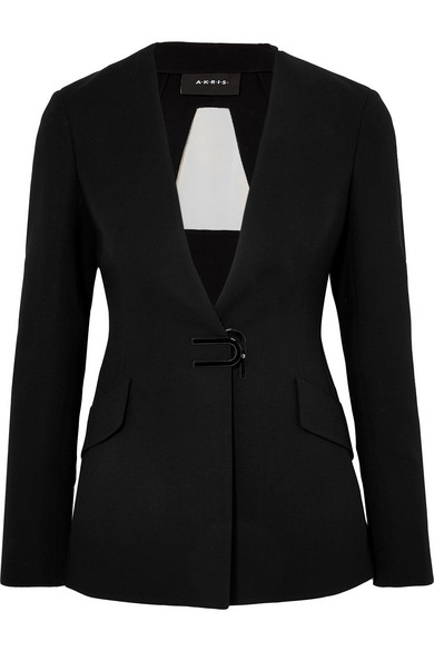 Akris Alize Tulle-Panelled Wool-Blend Crepe Blazer In Black