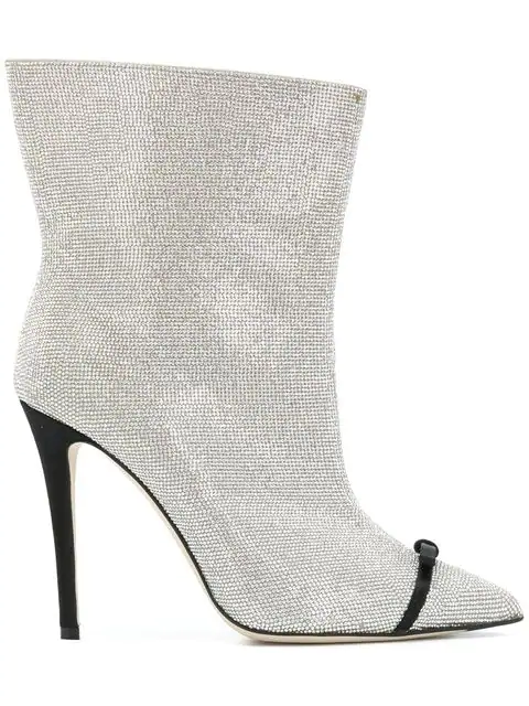 Marco De Vincenzo Pvc-Trimmed Crystal-Embellished Leather Ankle Boots In F102F