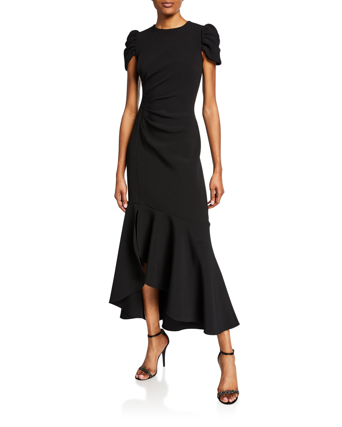 4a1d07bcab Shoshanna Marie Cap-Sleeve Ruched High-Low Flounce Dress In Jet ...