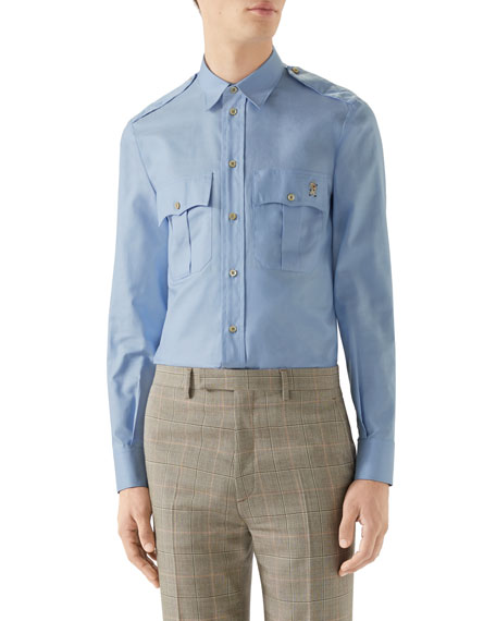 Gucci Men's Slim Flap-pocket Sport Shirt In Blue