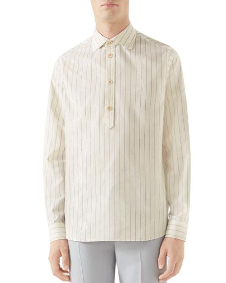 Gucci Men's Striped Quarter-button Sport Shirt In White/red