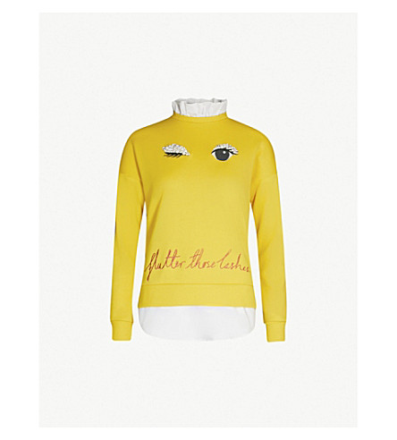 Ted Baker Henreet Embellished Cotton-Jersey Sweatshirt In Mid-Yellow