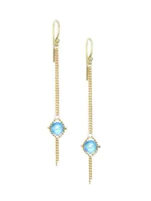 Amali Topaz & 18k Yellow Gold Chain Drop Earrings