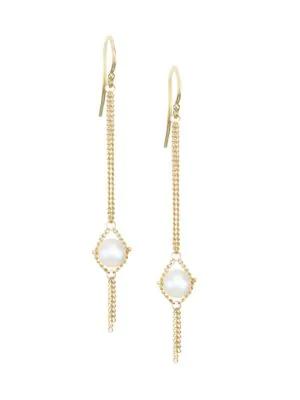 Amali Round 5mm Pearl & 18k Yellow Gold Chain Drop Earrings