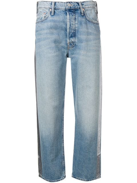 Mother The Trasher Cropped Jeans In Blue