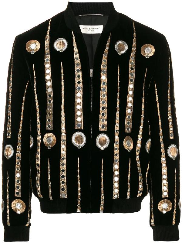 d669f6e2a Saint Laurent Velvet Varsity Jacket With Jukebox Embroidery In Black ...