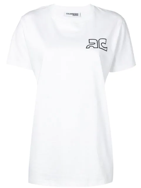 CourrÈGes Logo Print Cotton Jersey T-Shirt In White