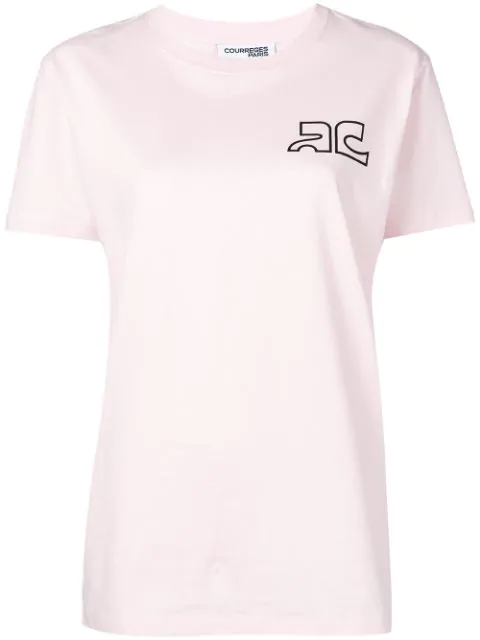 CourrÈGes Logo Print Cotton Jersey T-Shirt In Pink