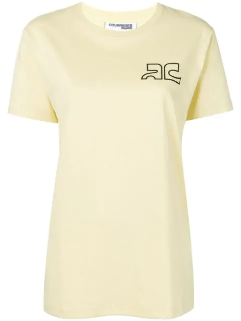 CourrÈGes Logo Print Cotton Jersey T-Shirt In Yellow