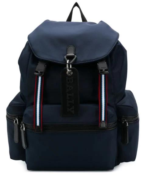 Bally Nylon Crew Backpack In Blue