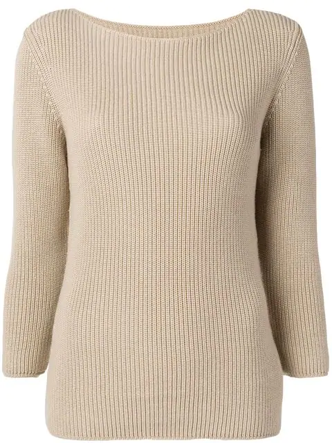 Gentry Portofino Ribbed Knit Sweater In Neutrals