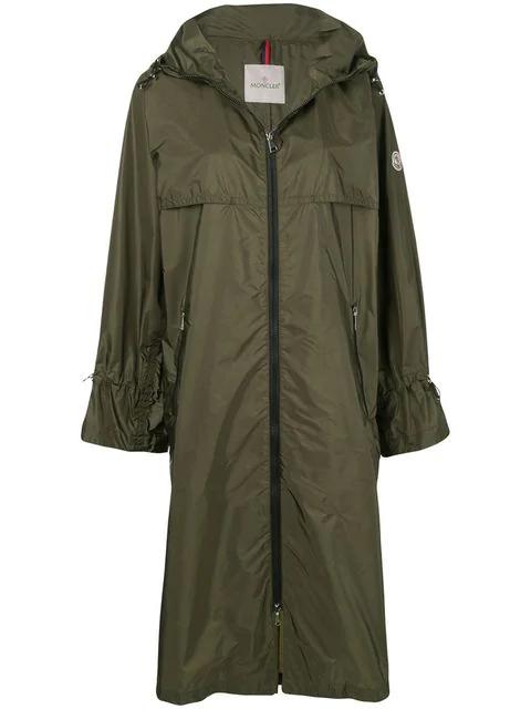 Moncler Satin-shell Raincoat In Green