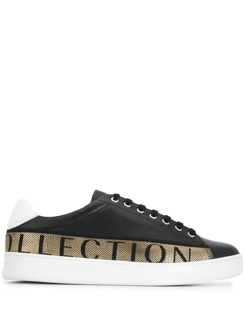 Versace Men's Shoes Leather Trainers Sneakers In Black