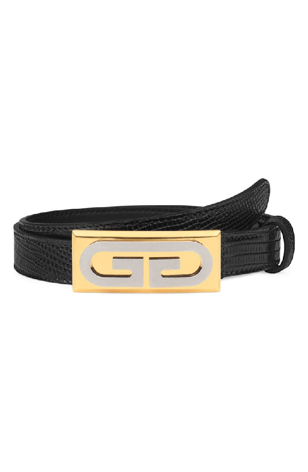 Gucci G-Plaque Genuine Lizardskin Skinny Belt In Nero