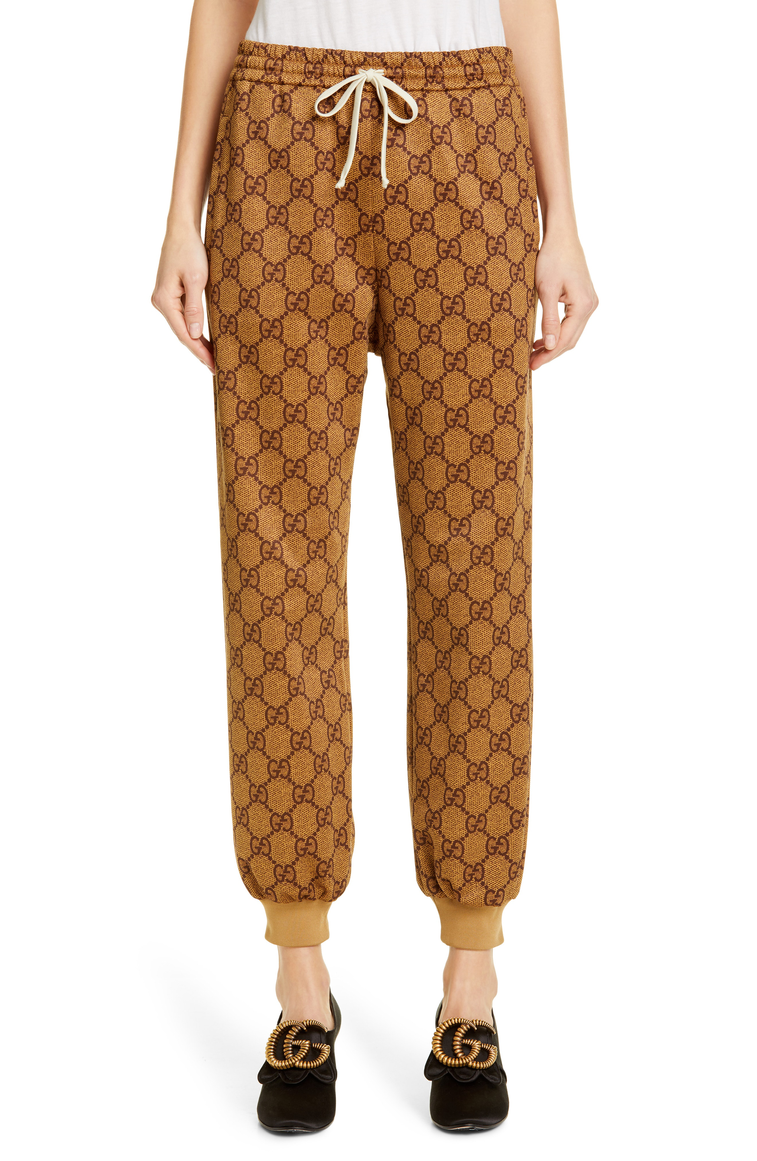 d2dc34a6bad02 Gucci Gg Print Technical Jersey Jogger Pants In Brown