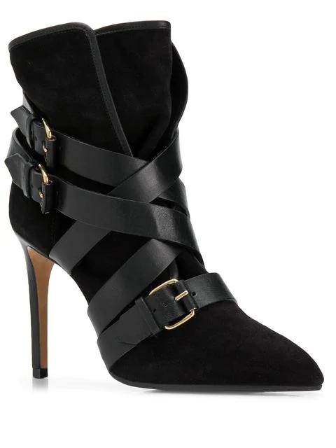 Balmain Jakie Suede Ankle Boots In Black
