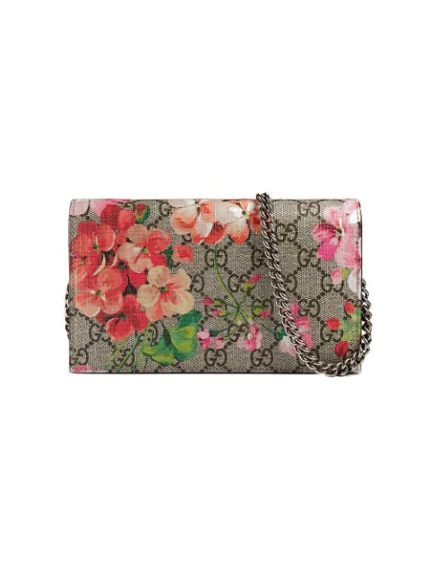Gucci Gg Blooms Supreme Chain Wallet, Multi Rose In A