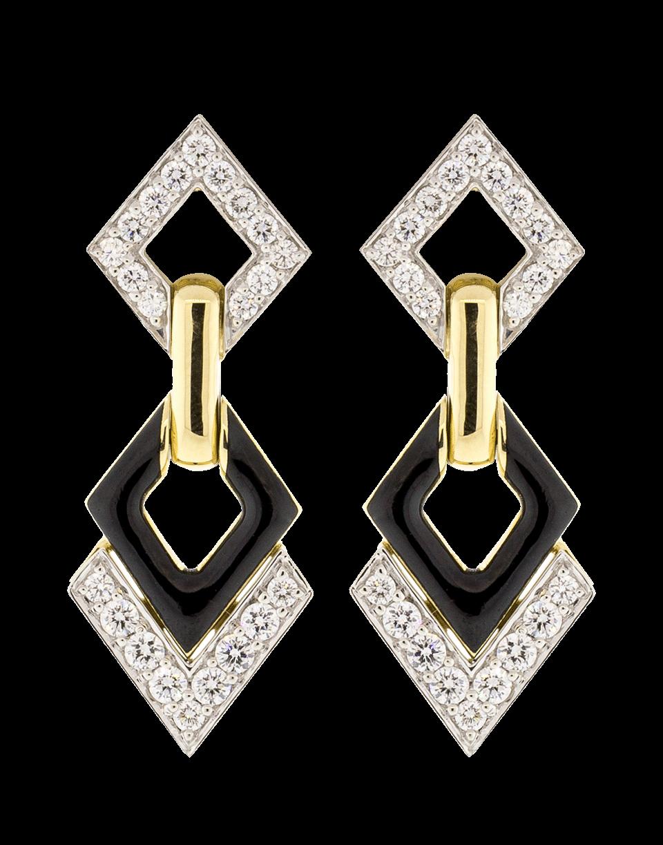 David Webb Double Diamond And Black Enamel Earrings In Ylwgold