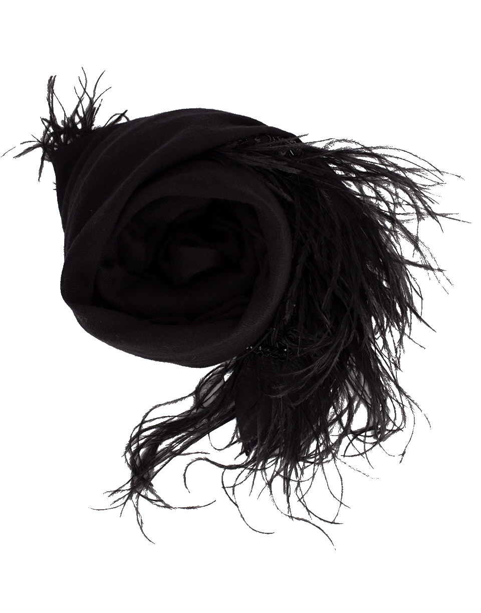 K. Janavi Feather Bordered Scarf In Black