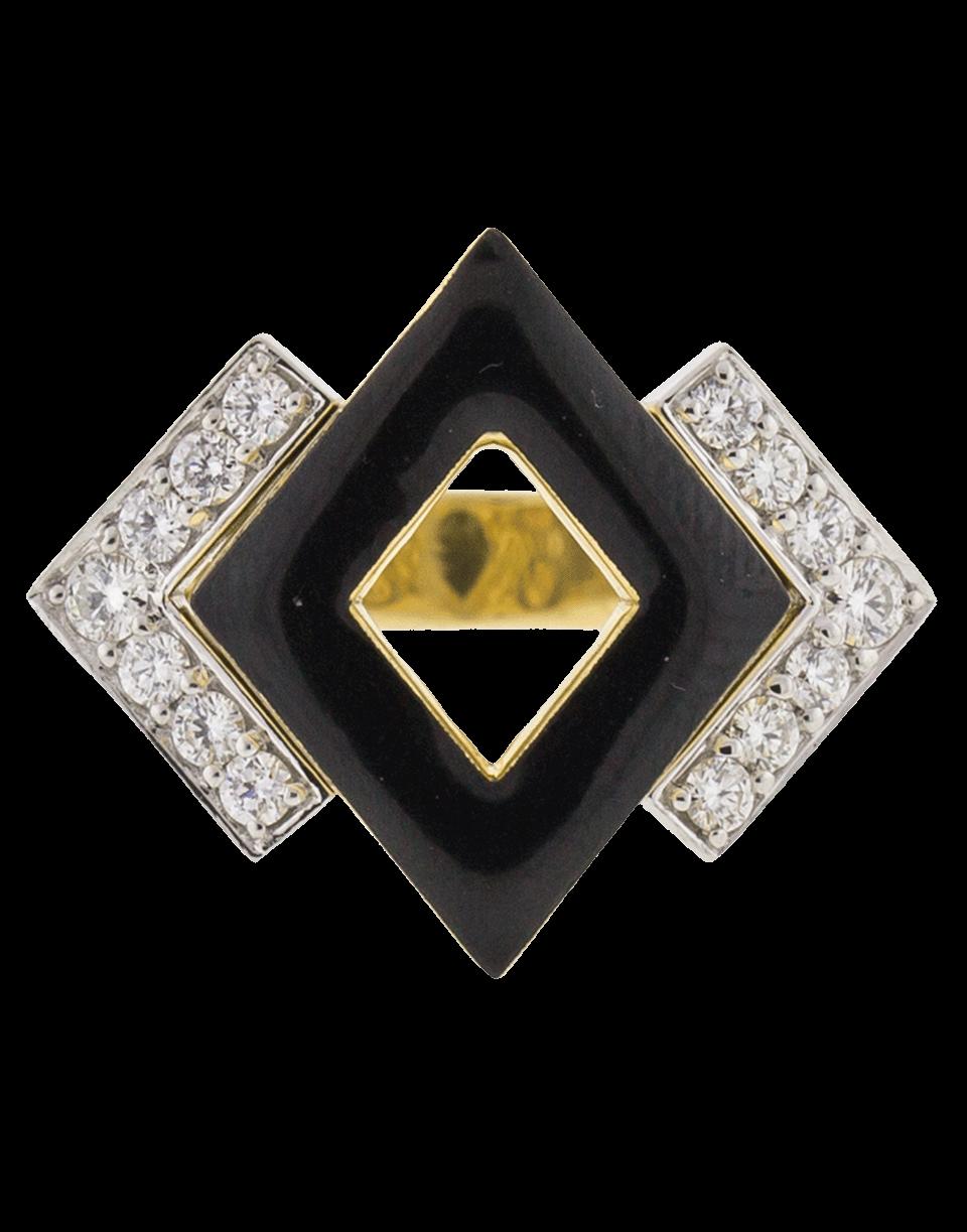 David Webb Double Diamond And Black Enamel Ring In Ylwgold