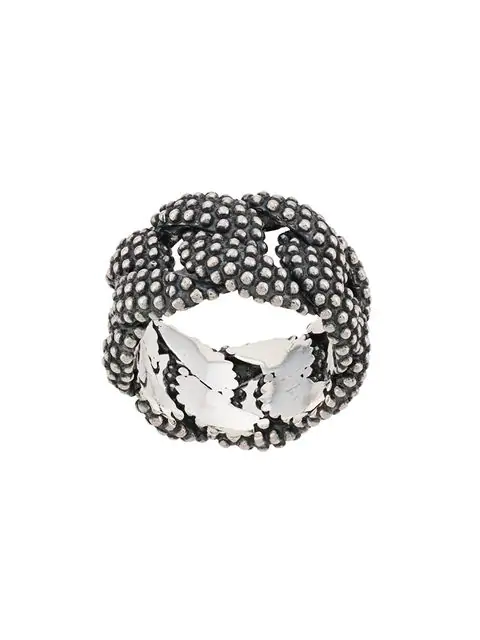 Nove25 Dotted Curb Ring In Silver