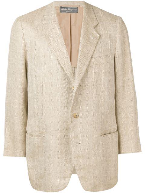 Pre-owned Salvatore Ferragamo 1990's Blazer In Neutrals