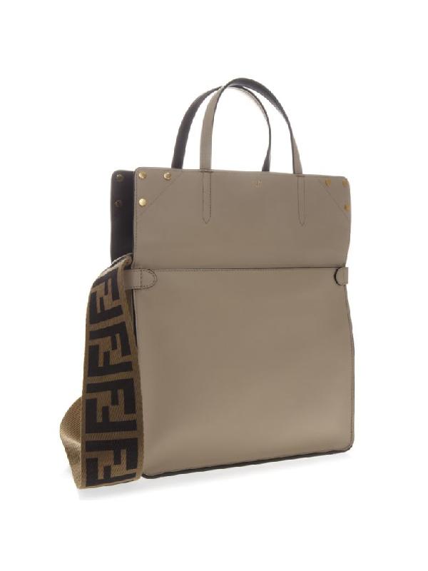 Fendi Flip Bag In Beige And Blue Leather In Beige/Blue