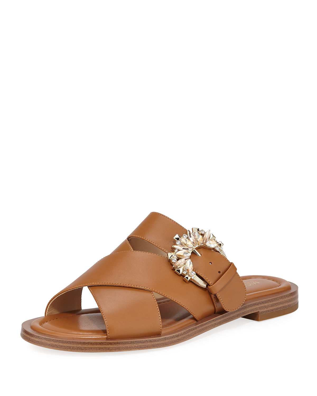 e98884516024 Michael Michael Kors Frieda Crystal-Buckle Leather Slide Sandals In Light  Cream