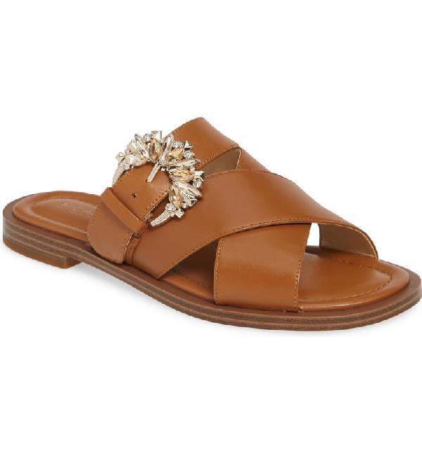 21b0a56ee713 Michael Michael Kors Frieda Crystal-Buckle Leather Slide Sandals In Acorn  Vachetta Leather