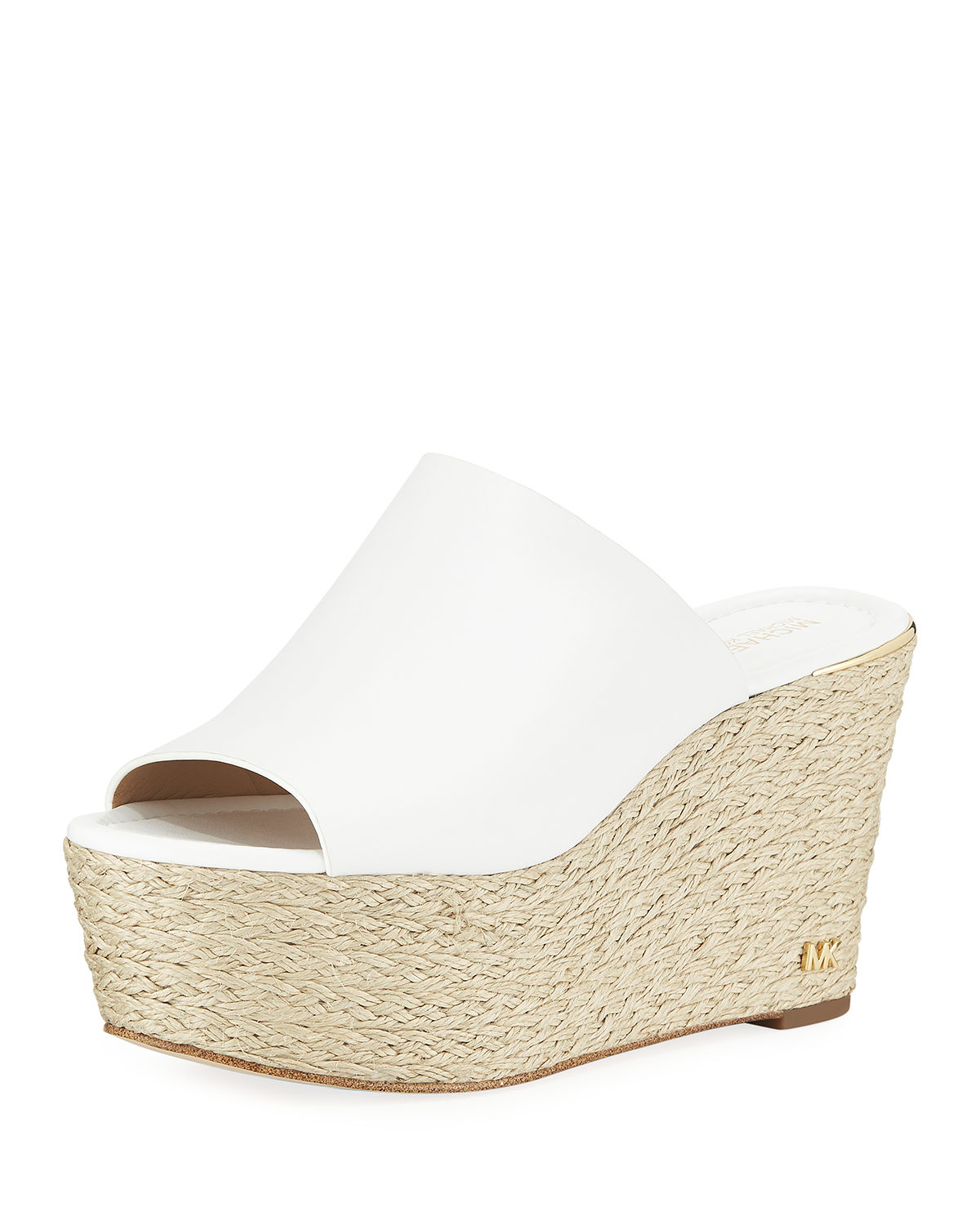 0e687bf0e8 Michael Michael Kors Cunningham Leather Platform Wedge Sandals In Optic  White