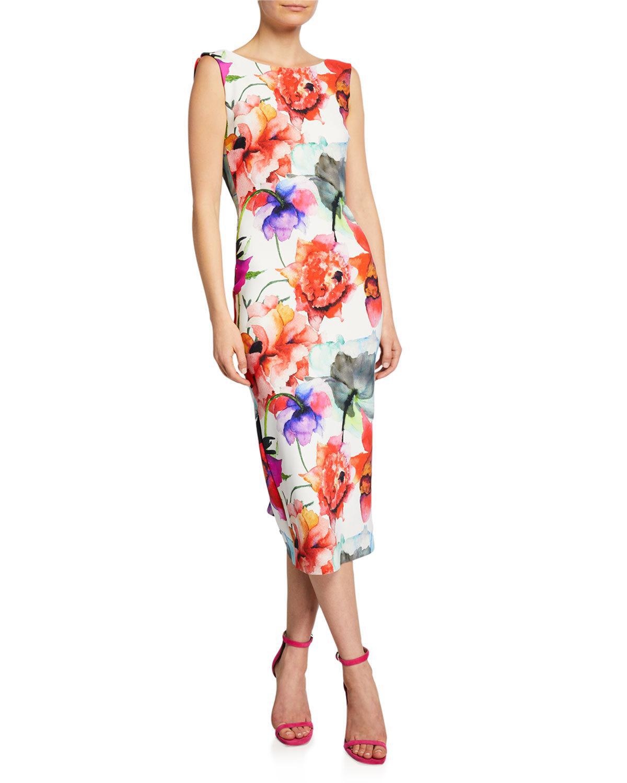 997767bb4d4d7 CHIARA BONI LA PETITE ROBE. Madereh Floral-Print Sleeveless Midi Dress ...