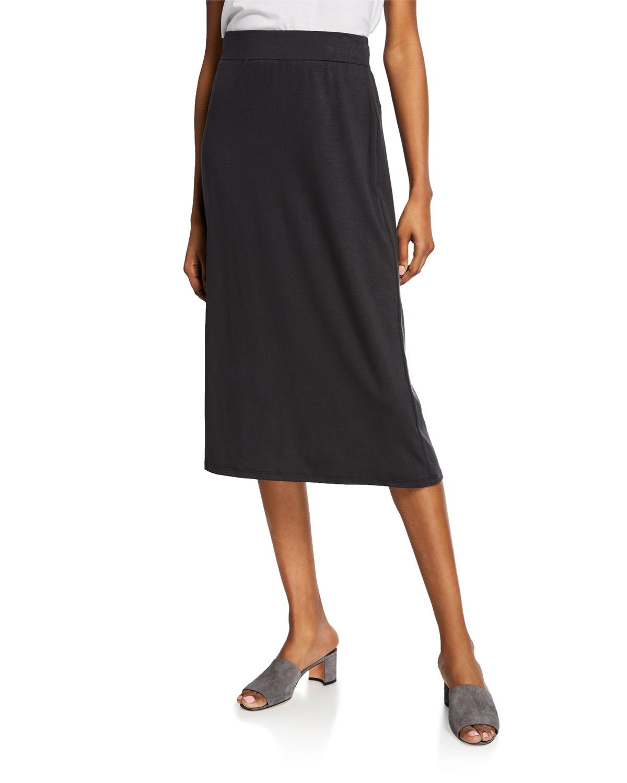 6830bb6684 Eileen Fisher Petite Jersey A-Line Midi Skirt In Graphite   ModeSens