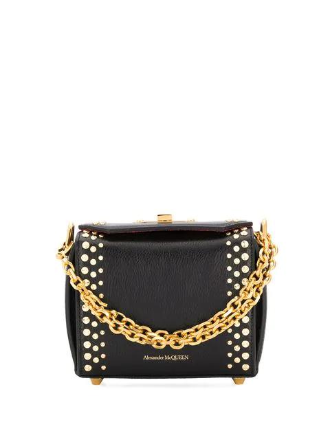Alexander Mcqueen Studded Box 19 Handbag In Black
