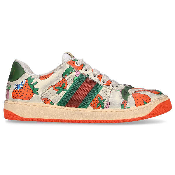 Gucci New Ace Strawberry-print Leather Trainers In White