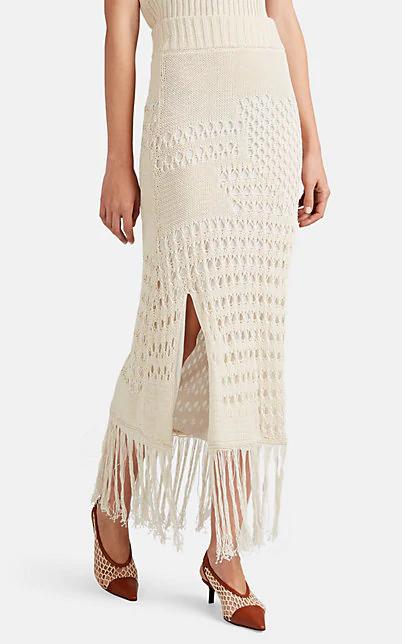 Altuzarra Benedetta Cotton-Blend Fringed MacramÉ Skirt In Ivory