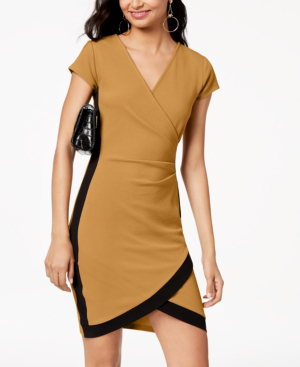 Almost Famous Juniors' Framed Wrap Dress In Mustard/Black
