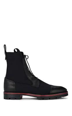 Christian Louboutin Men's Sockroc Waxed Neoprene Boots In Black