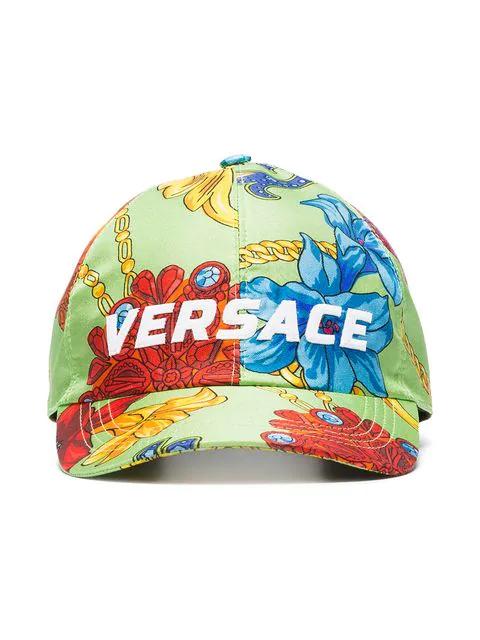 78cbf7c4 Versace Green Logo Embroidered Jewellery Print Silk Baseball Cap ...