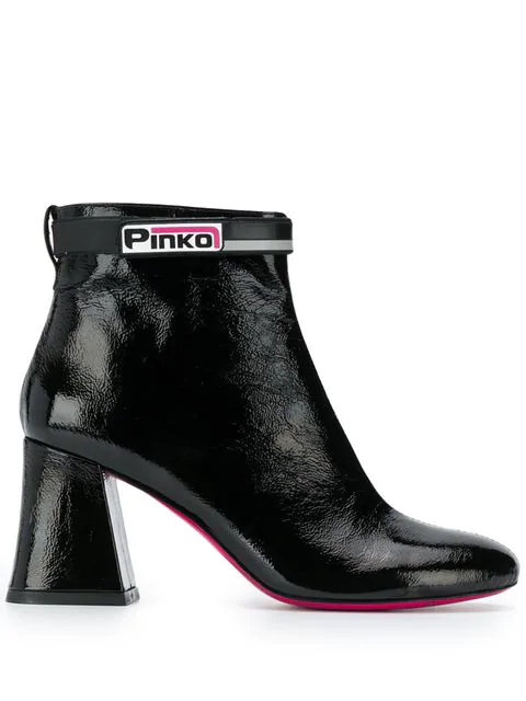 Pinko Chunky Heel Ankle Boots In Black