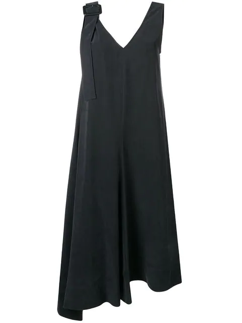 Joseph Asymmetric Midi Dress In Black