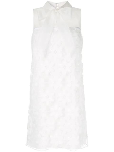 Paule Ka Pussy Bow Lace Dress In White